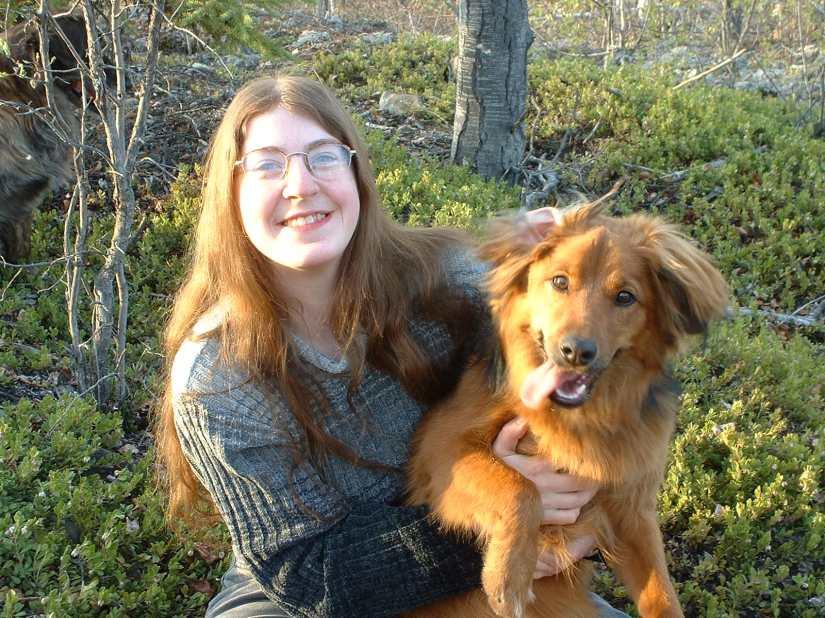 me holding dog